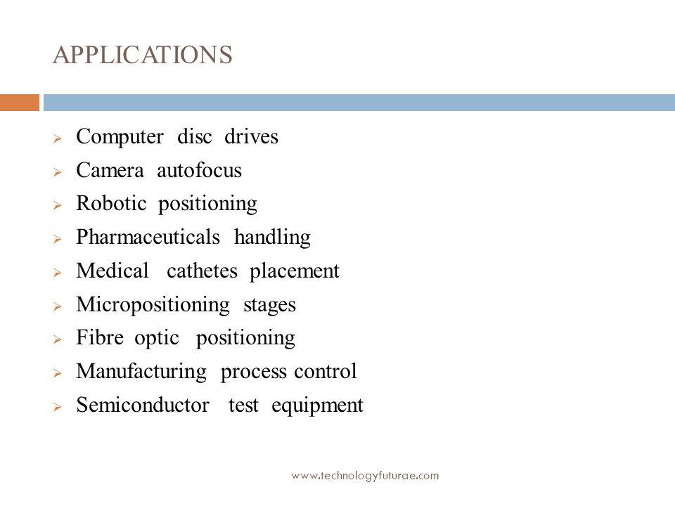 APPLICATIONS Computer disc drives Camera autofocus Robotic positioning