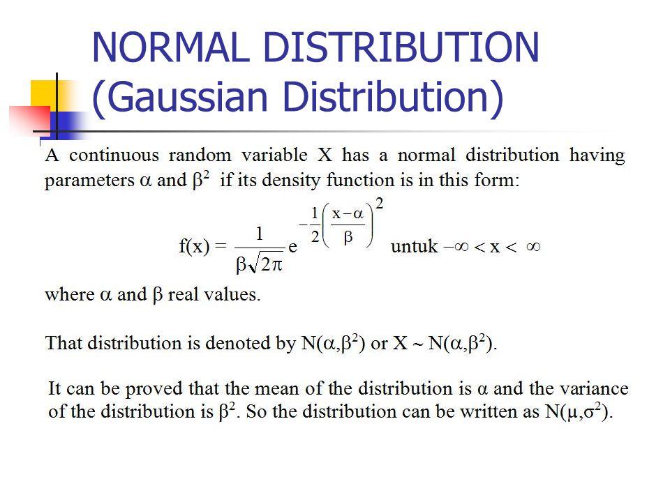 NORMAL DISTRIBUTION (Gaussian Distribution)