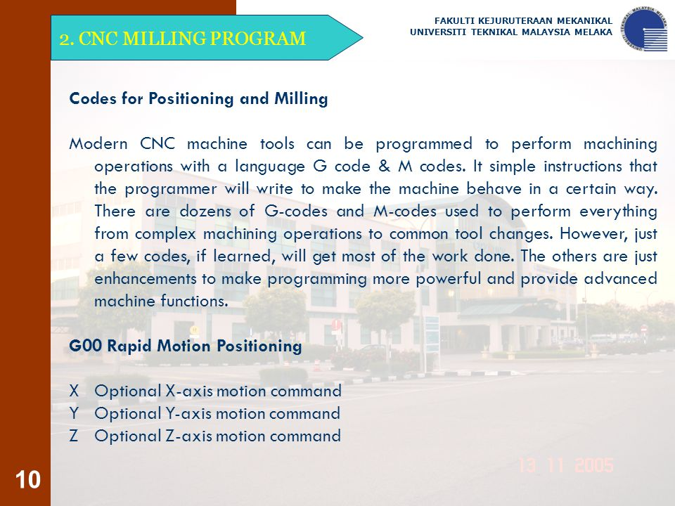 Codes for Positioning and Milling