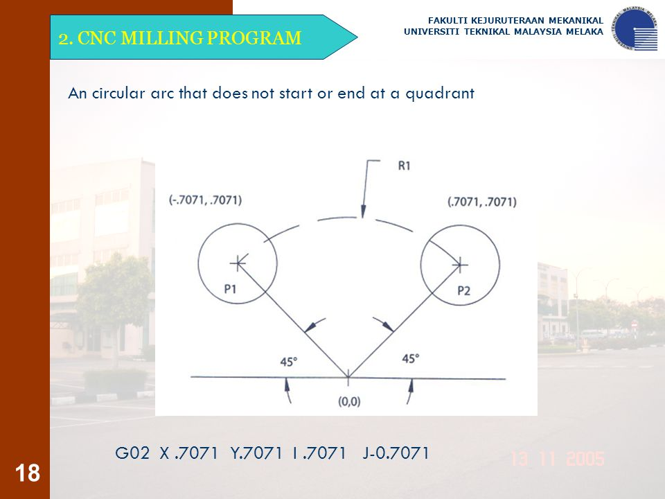 An circular arc that does not start or end at a quadrant