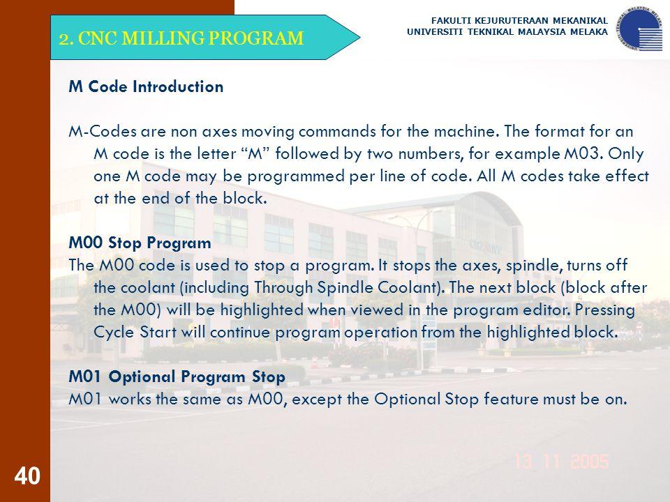 M01 Optional Program Stop