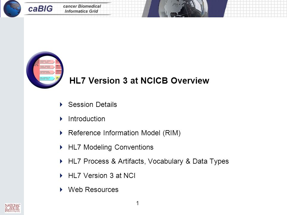 HL7 Version 3 at NCICB Overview