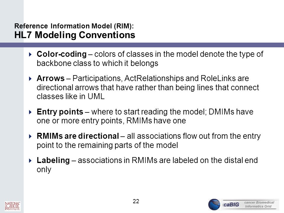 Reference Information Model (RIM): HL7 Modeling Conventions