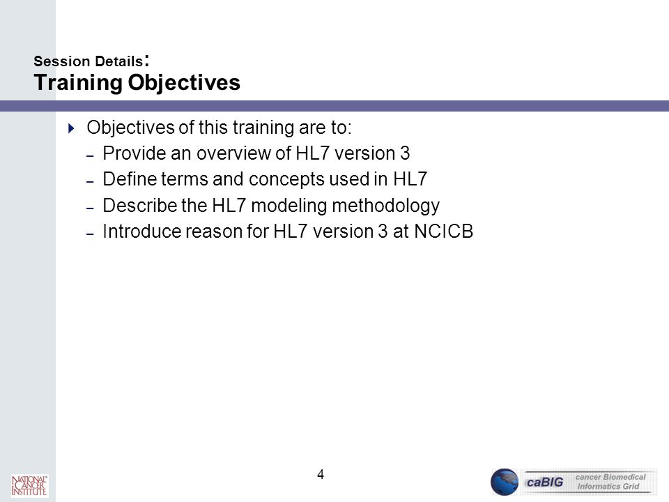 Session Details: Training Objectives