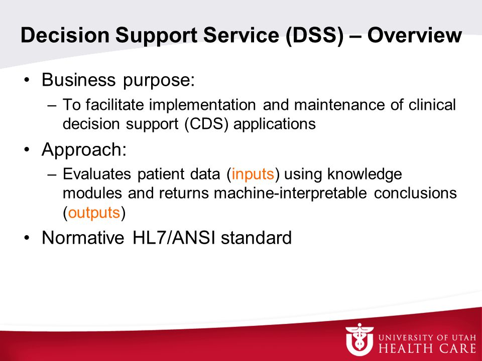 Decision Support Service (DSS) – Overview
