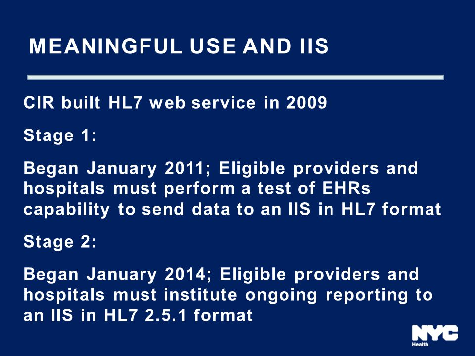 Meaningful USE and IIS