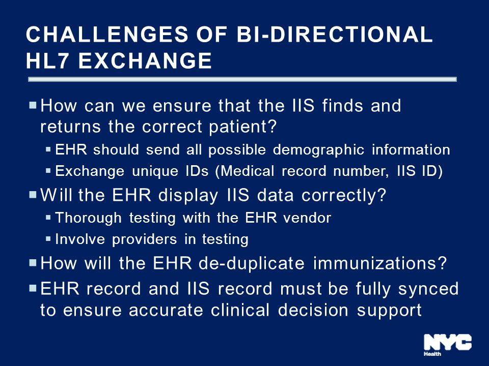 Challenges of bi-directional HL7 exchange