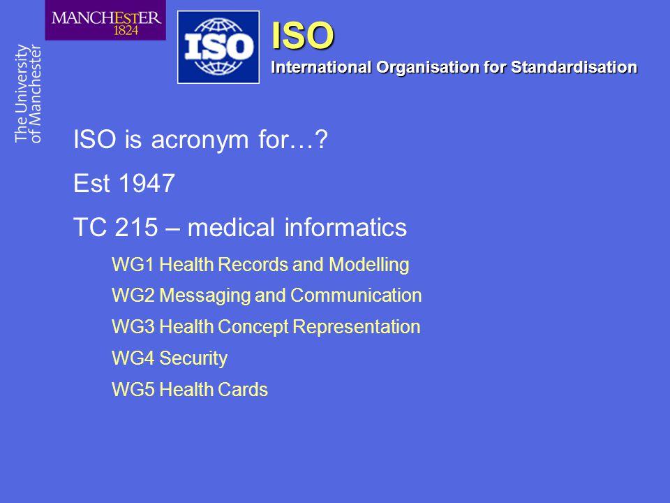 ISO International Organisation for Standardisation