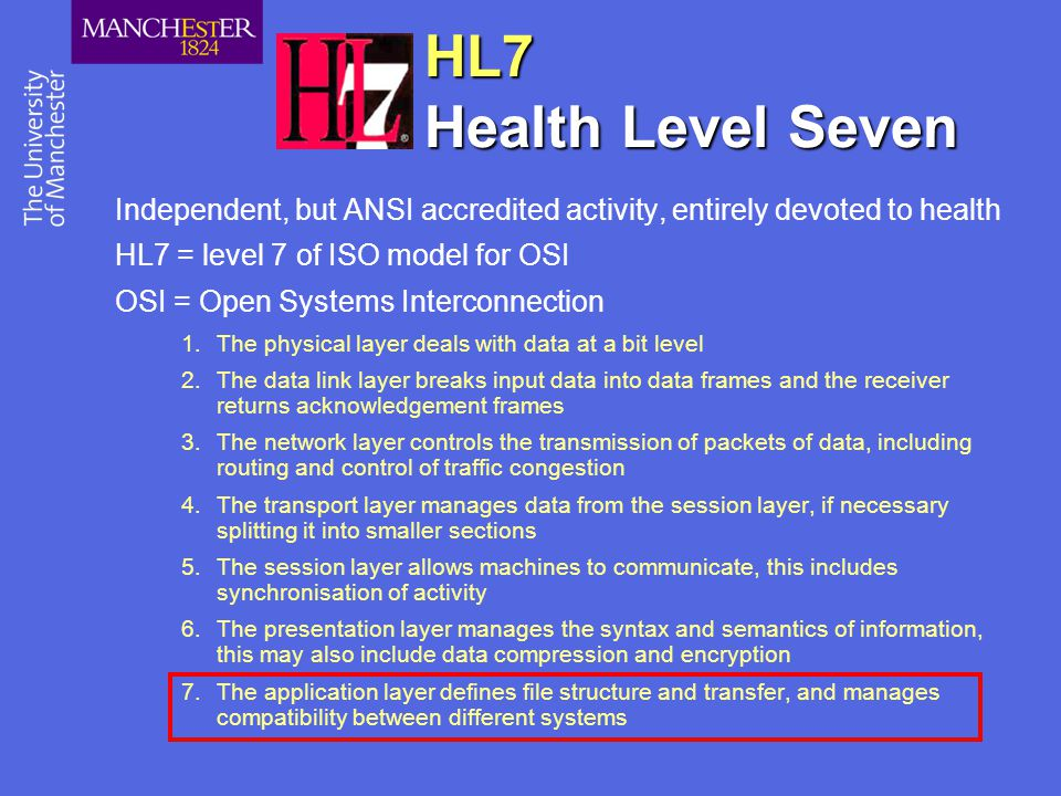 HL7 Health Level Seven Independent, but ANSI accredited activity, entirely devoted to health. HL7 = level 7 of ISO model for OSI.