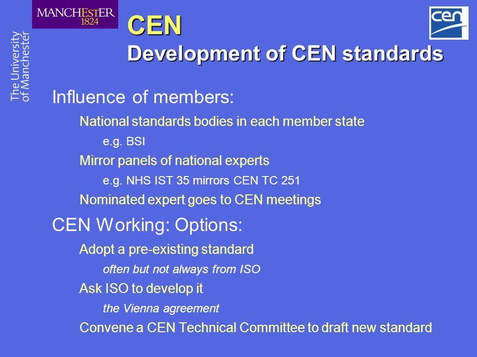 CEN Development of CEN standards
