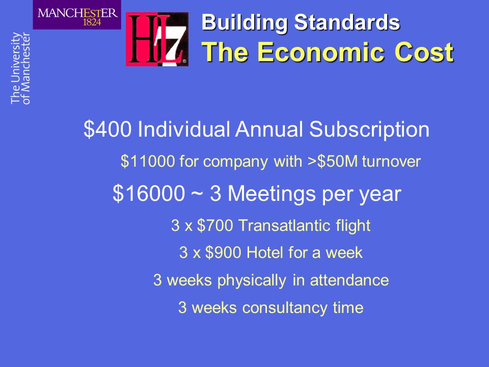 Building Standards The Economic Cost