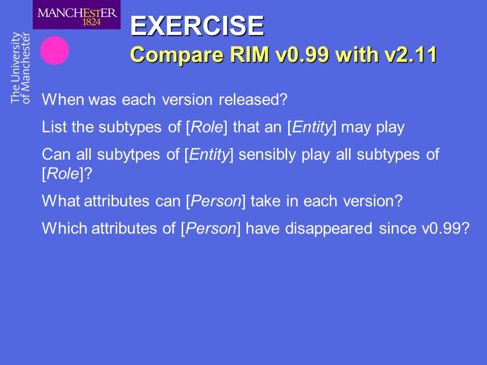 EXERCISE Compare RIM v0.99 with v2.11
