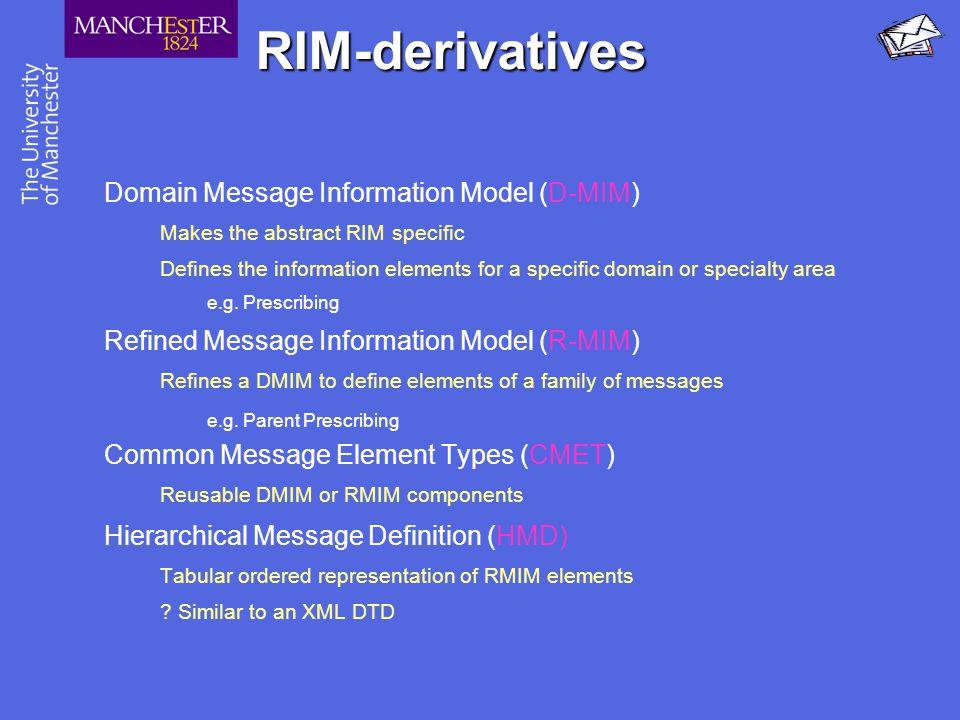 RIM-derivatives Domain Message Information Model (D-MIM)
