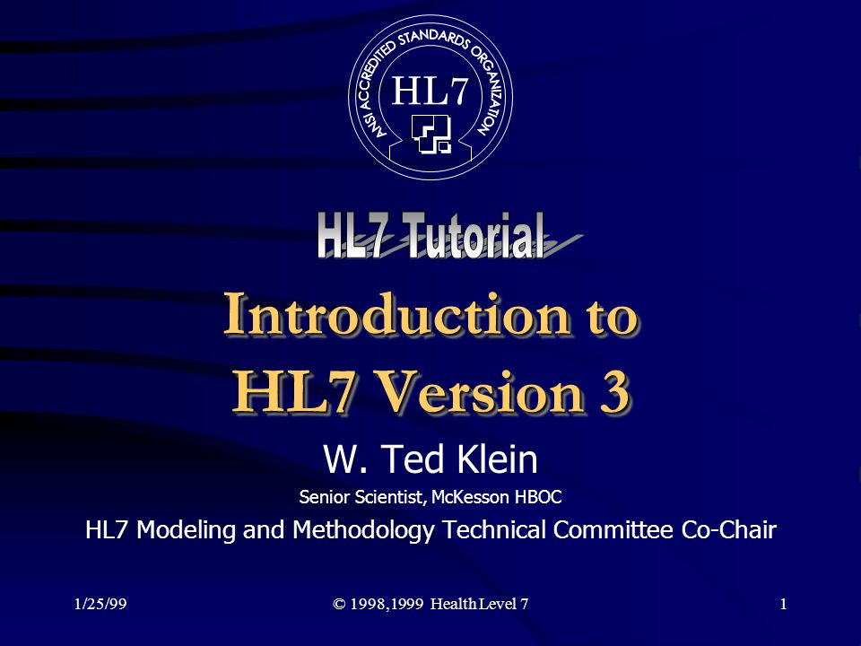 Introduction to HL7 Version 3