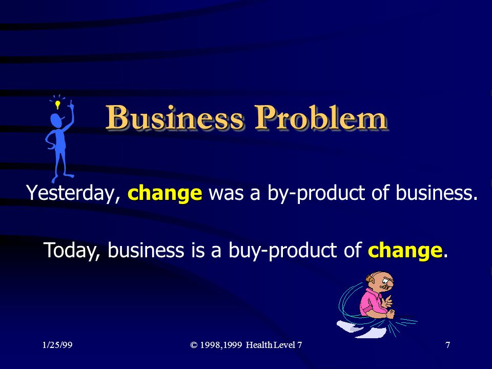 Yesterday, change was a by-product of business.