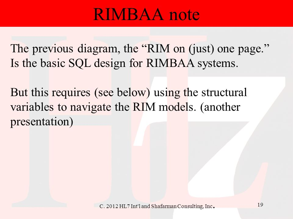 RIMBAA note The previous diagram, the RIM on (just) one page.