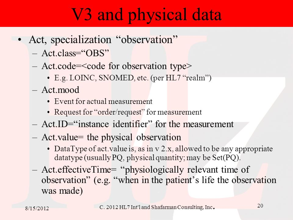 V3 and physical data Act, specialization observation Act.class= OBS