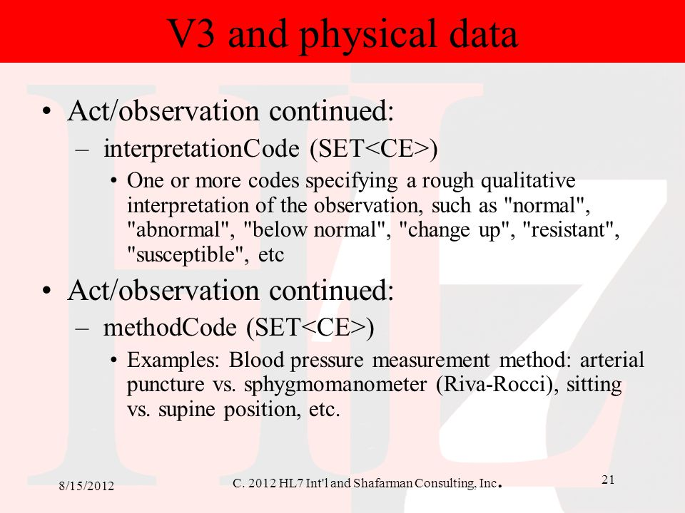 V3 and physical data Act/observation continued: