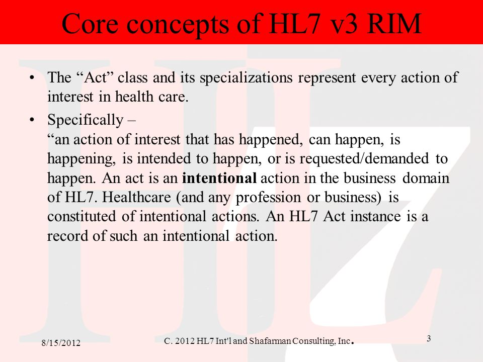 Core concepts of HL7 v3 RIM