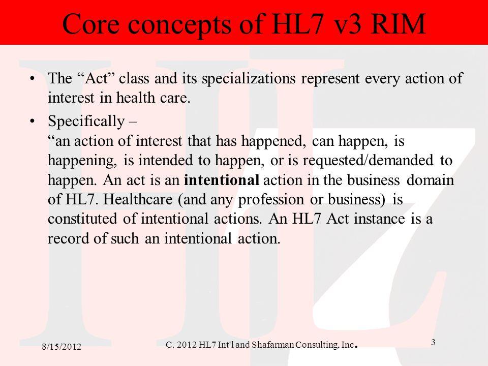 Core concepts of HL7 v3 RIM