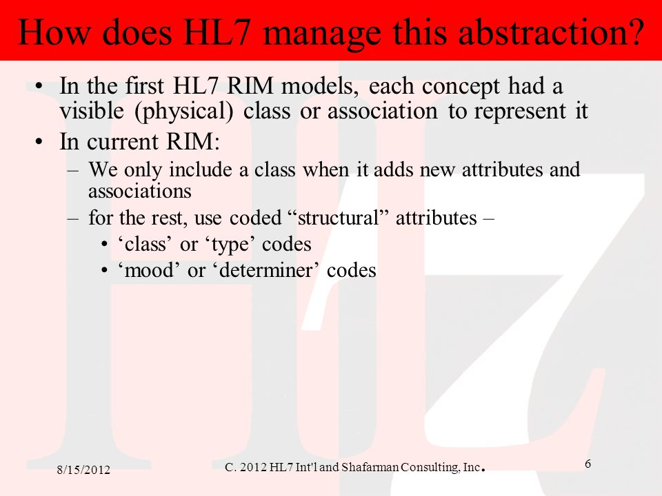 How does HL7 manage this abstraction