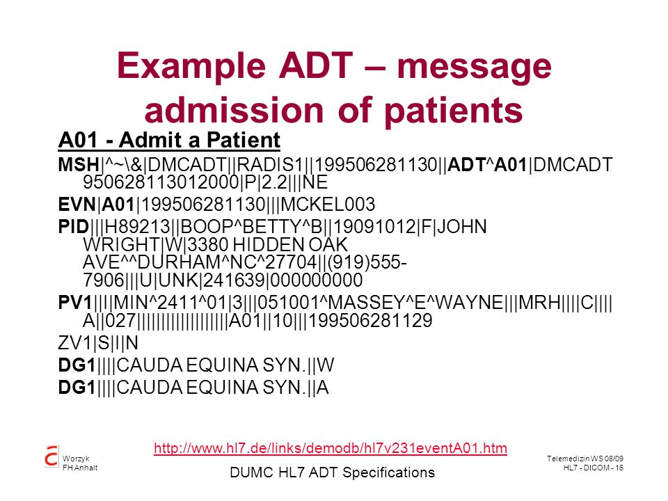 Example ADT – message admission of patients