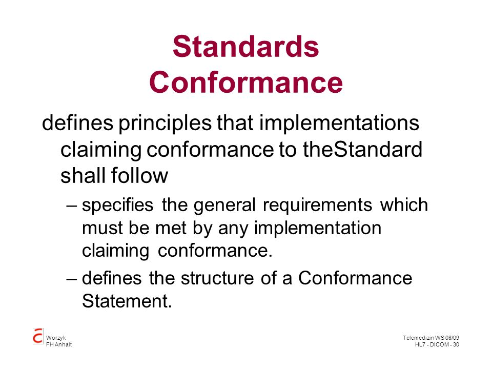 Standards Conformance