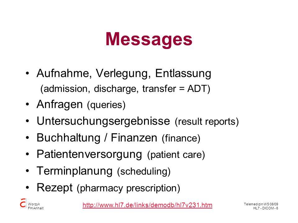 Messages Aufnahme, Verlegung, Entlassung Anfragen (queries)