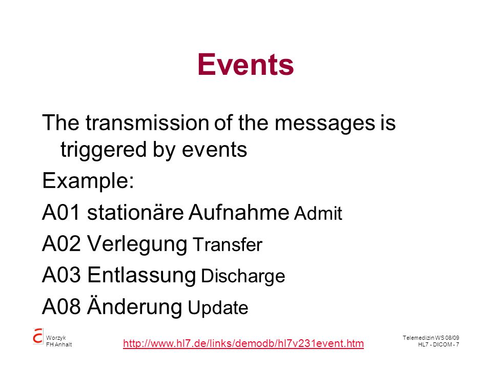 Events The transmission of the messages is triggered by events