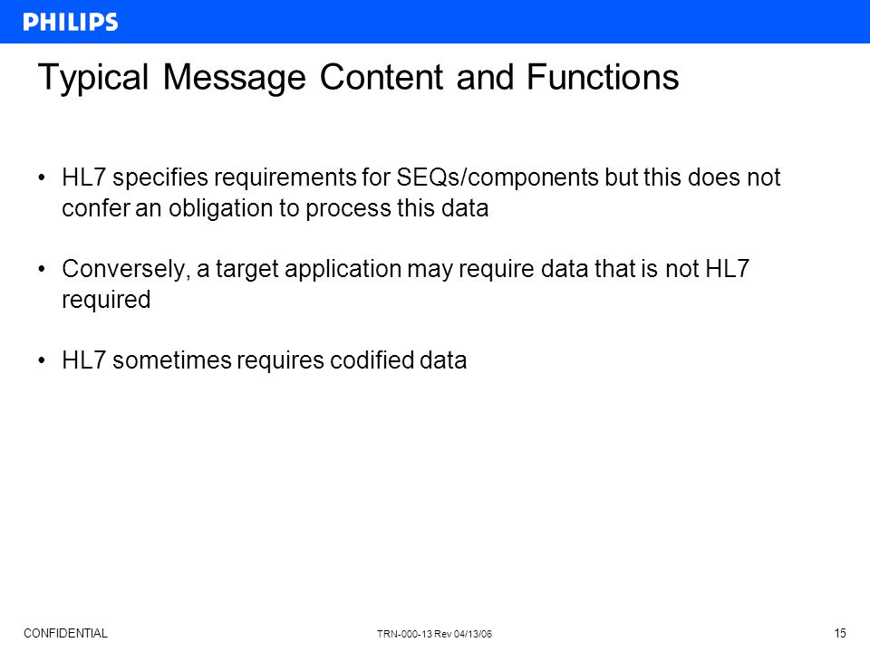 Typical Message Content and Functions