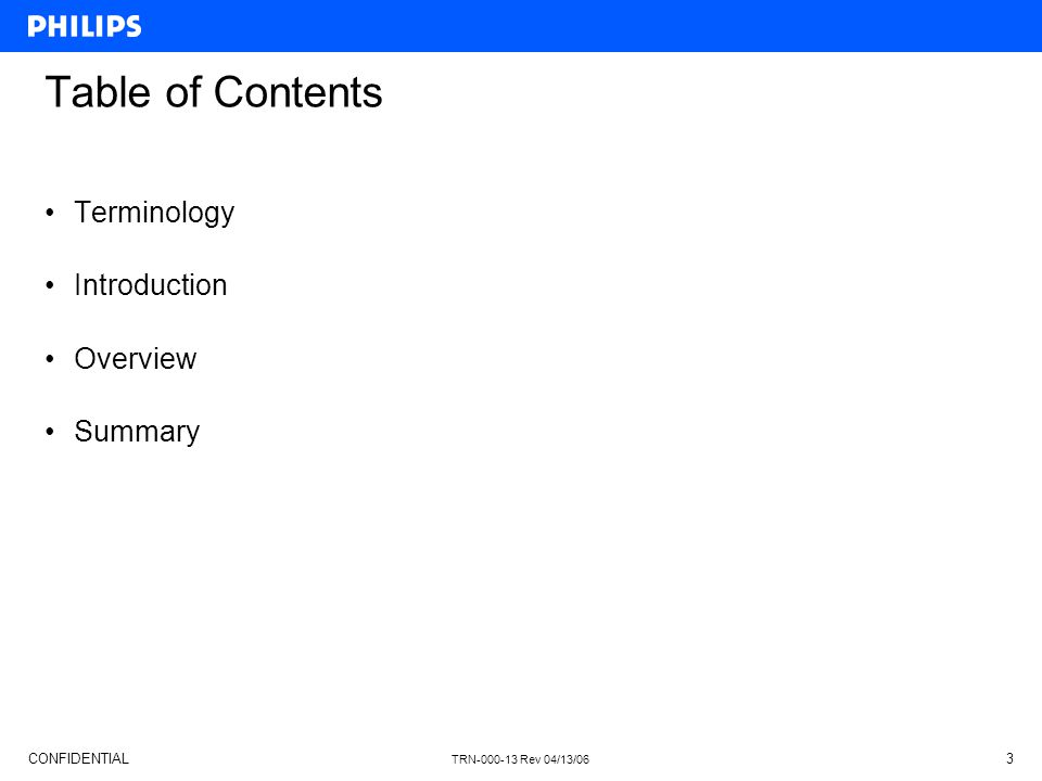 Table of Contents Terminology Introduction Overview Summary