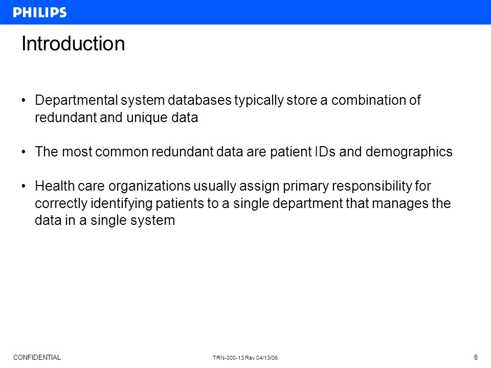 Introduction Departmental system databases typically store a combination of redundant and unique data.