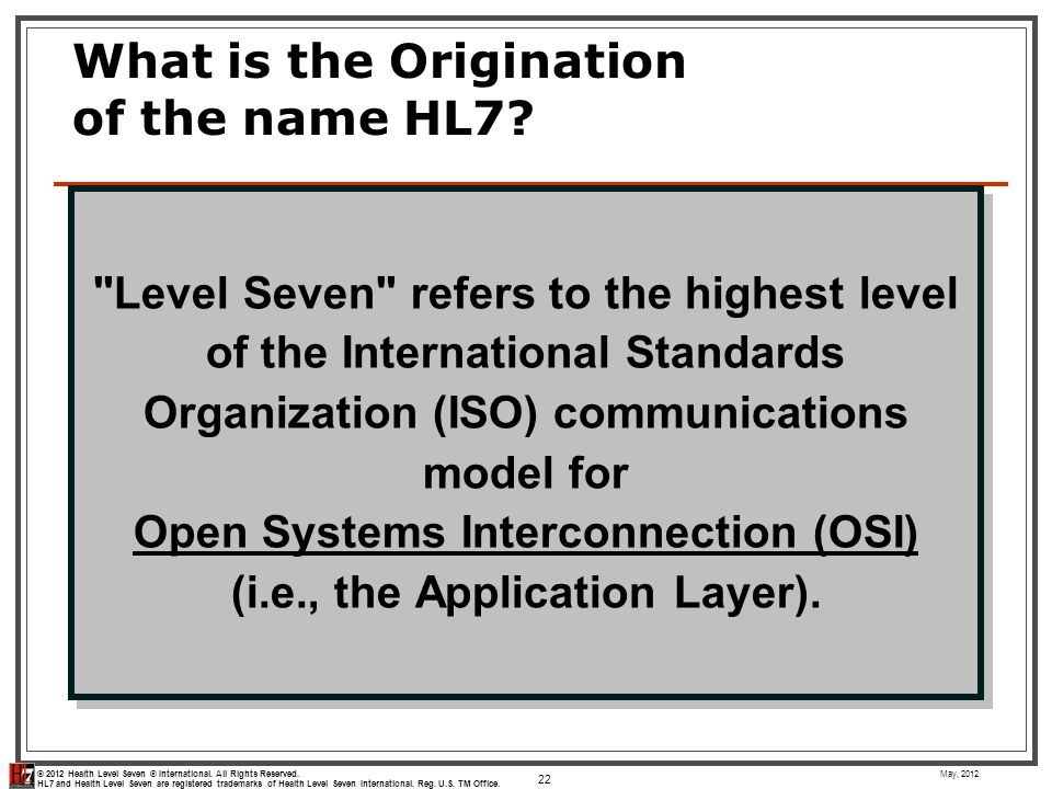 What is the Origination of the name HL7