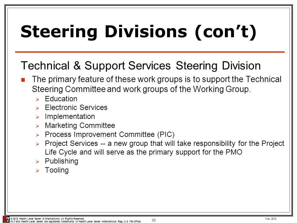 Steering Divisions (con't)