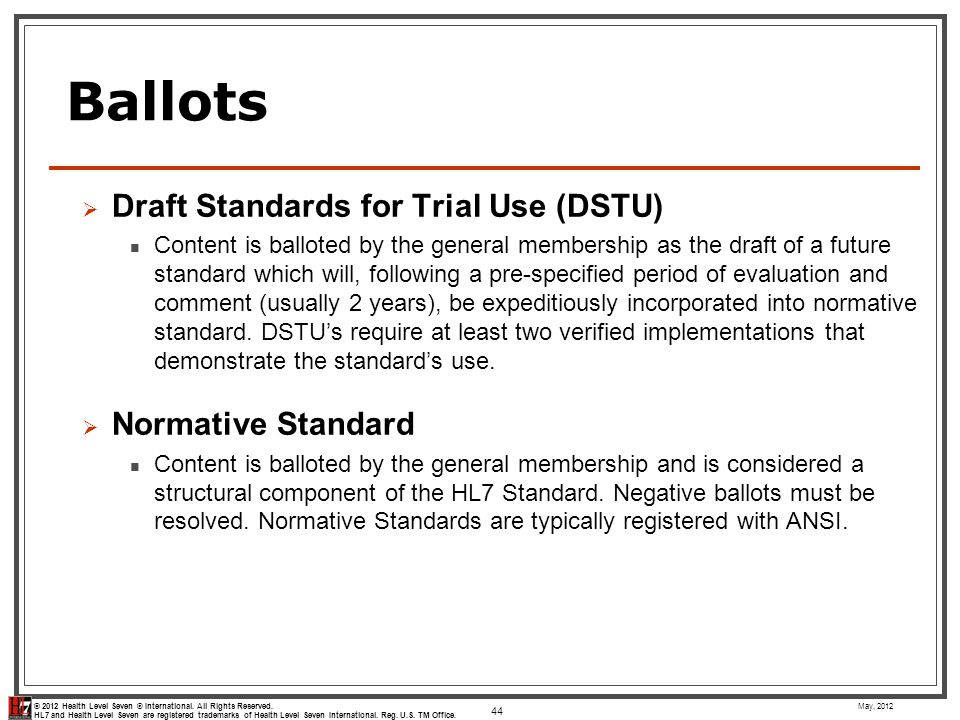 Ballots Draft Standards for Trial Use (DSTU) Normative Standard