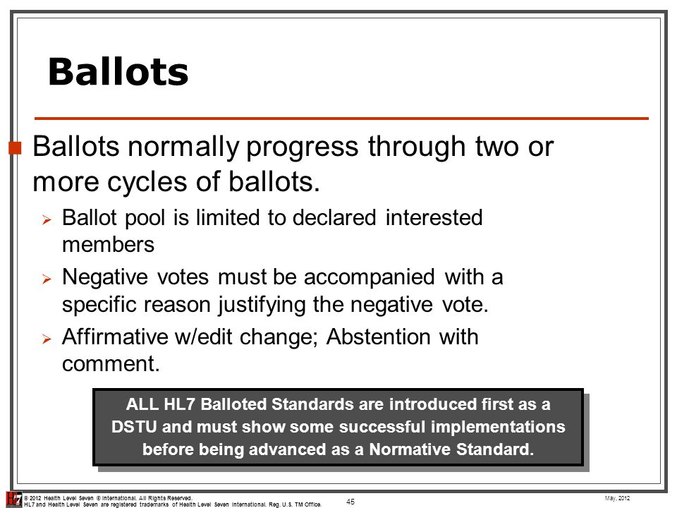 Ballots Ballots normally progress through two or more cycles of ballots. Ballot pool is limited to declared interested members.