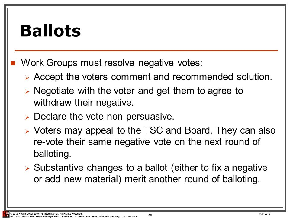 Ballots Work Groups must resolve negative votes: