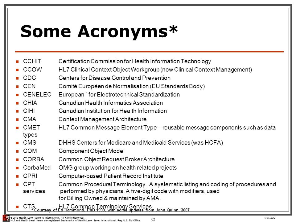 Some Acronyms* CCHIT Certification Commission for Health Information Technology.