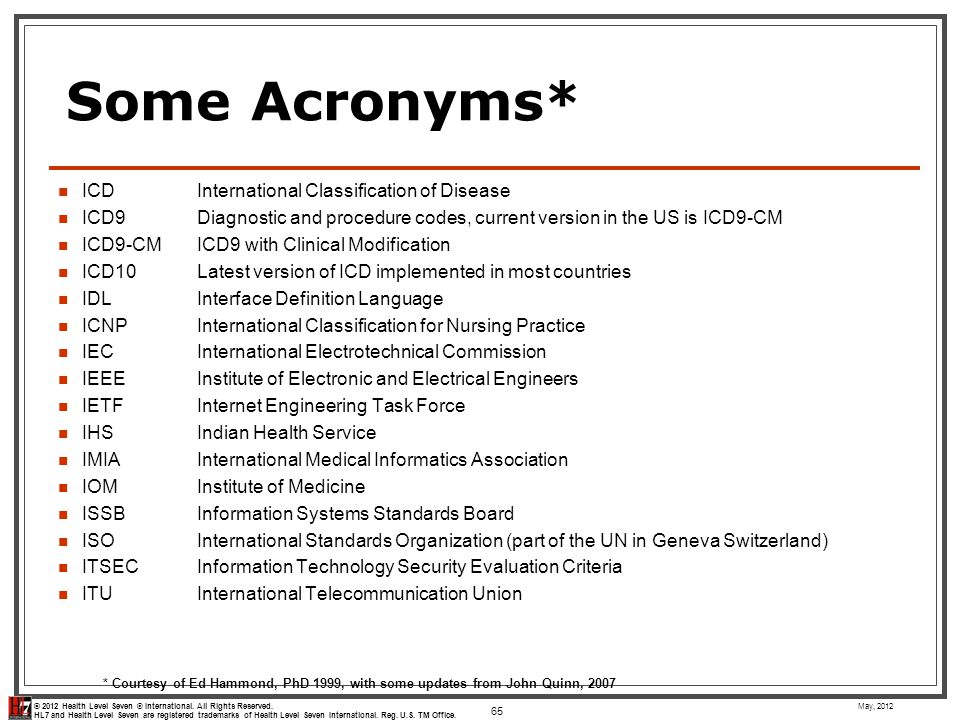 Some Acronyms* ICD International Classification of Disease