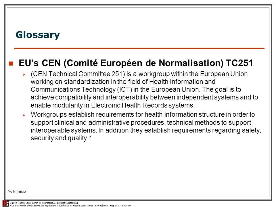 EU's CEN (Comité Européen de Normalisation) TC251