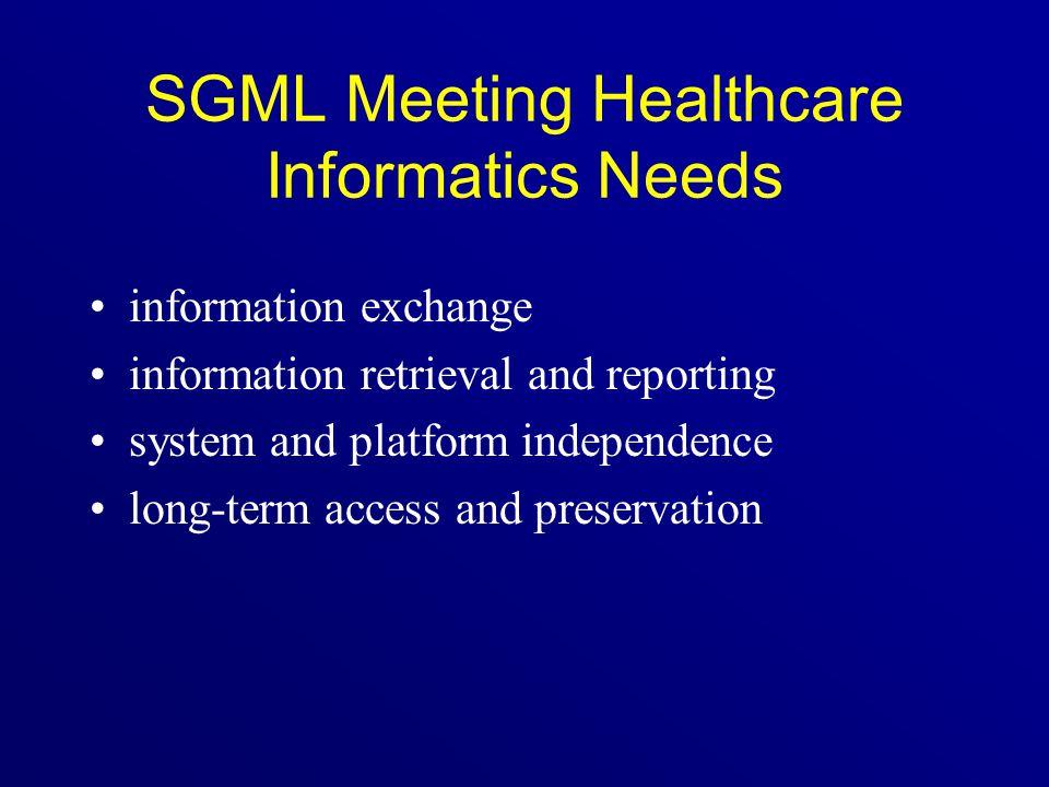 SGML Meeting Healthcare Informatics Needs