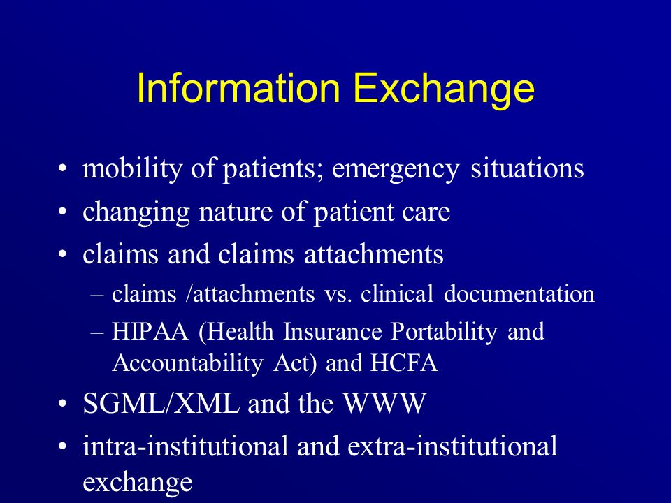 Information Exchange mobility of patients; emergency situations