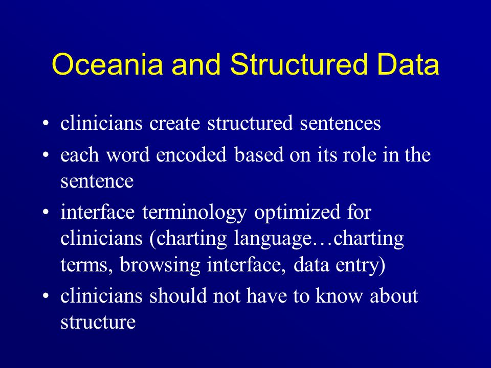 Oceania and Structured Data