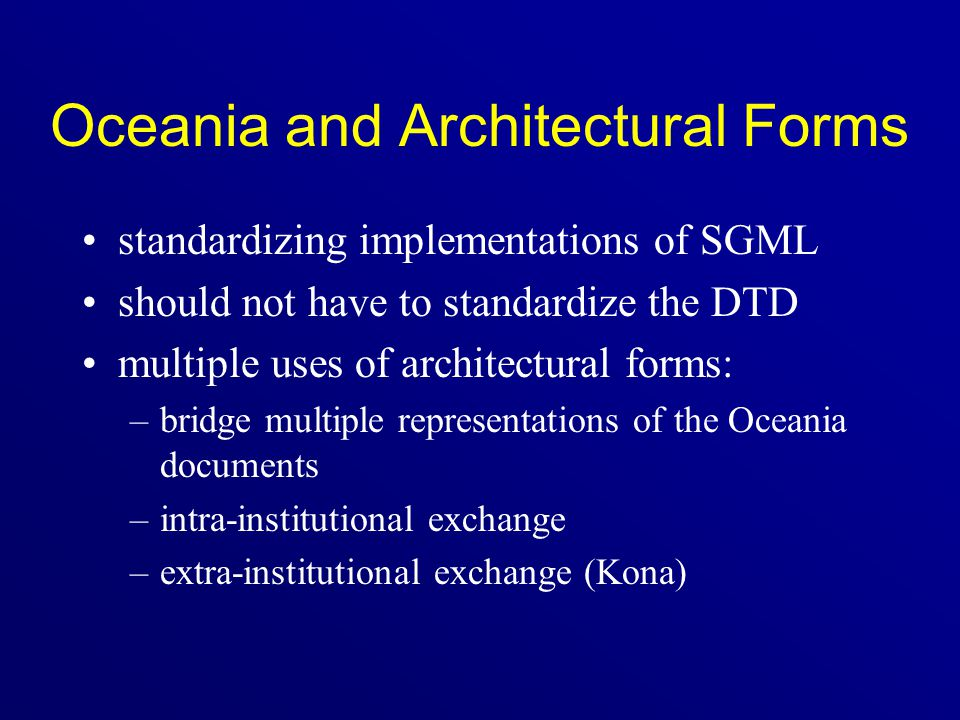 Oceania and Architectural Forms
