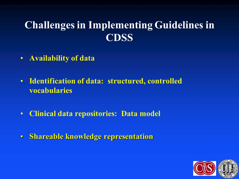 Challenges in Implementing Guidelines in CDSS