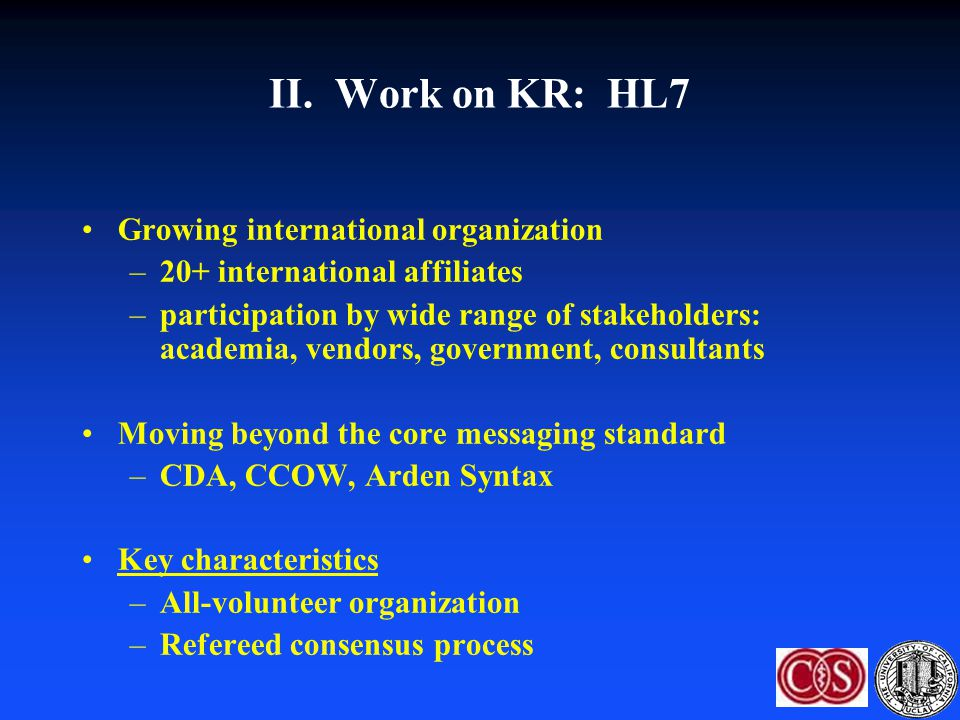 II. Work on KR: HL7 Growing international organization