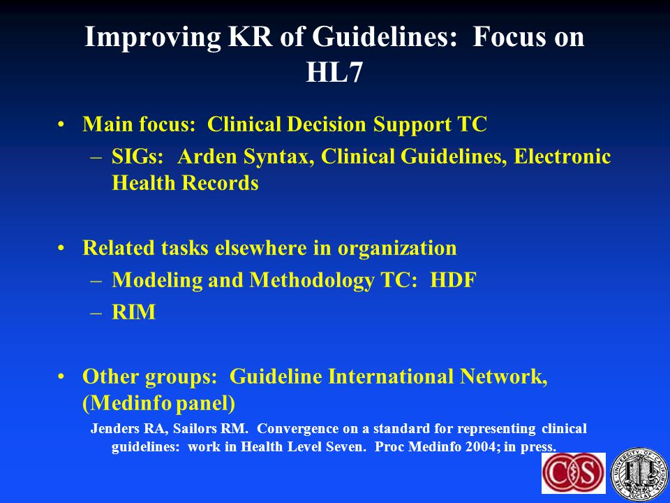 Improving KR of Guidelines: Focus on HL7