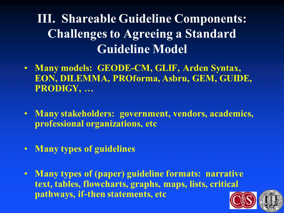 III. Shareable Guideline Components: Challenges to Agreeing a Standard Guideline Model