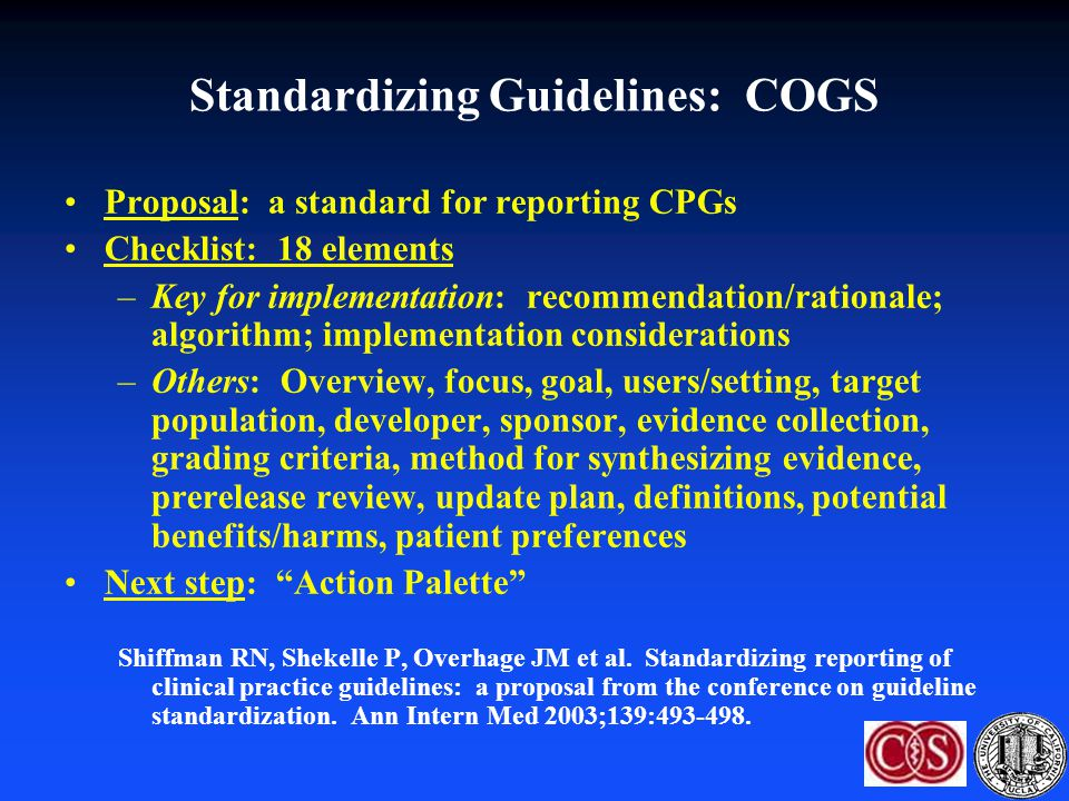 Standardizing Guidelines: COGS