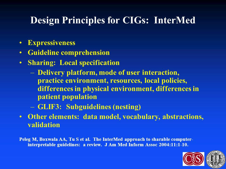 Design Principles for CIGs: InterMed